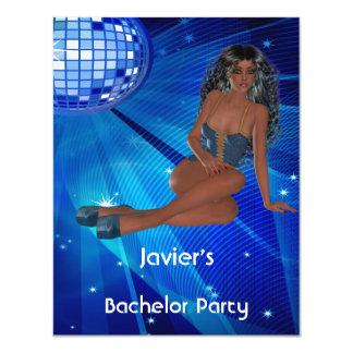 Klubb för disko för blått för flicka för 10,8 x 14 cm inbjudningskort