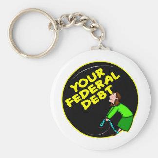 Klumpa ihop sig & kedja till din federala skuld rund nyckelring