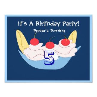 Kluven födelsedagsfest inbjudan för smaskig banan