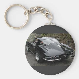 Kluvet fönster för Corvette klassikersvart Rund Nyckelring