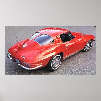 Kluvet fönster röda Corvette för klassiker Affisch
