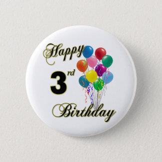 Knäppas den 3rd födelsedagen för lycklig och födel standard knapp rund 5.7 cm