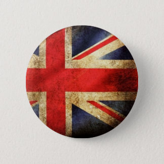 Knäppas den brittiska flagga för Grunge Standard Knapp Rund 5.7 Cm