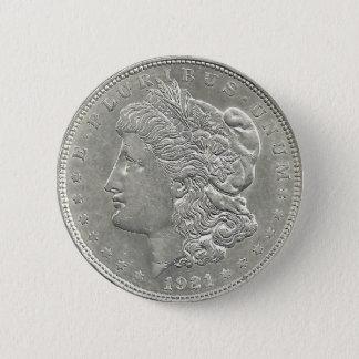 Knäppas den Morgan silverdollaren 1921 Standard Knapp Rund 5.7 Cm
