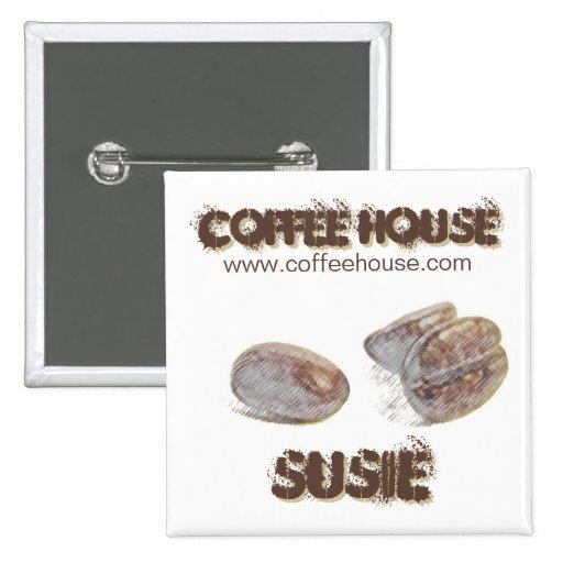 """knäppas den personalizable namn bricka """"för kaffeb knappar med nål"""