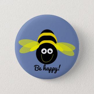 Knäppas det lyckliga tecknadbiet för biet emblem standard knapp rund 5.7 cm
