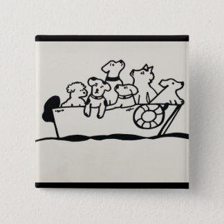 """""""Knäppas hundar på fartyget"""" vid Willowcatdesigns Standard Kanpp Fyrkantig 5.1 Cm"""
