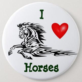 Knäppas: Jag älskar hästar knäppas Jumbo Knapp Rund 15.2 Cm