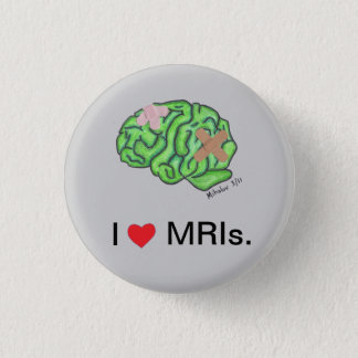 """""""Knäppas jag [hjärta] MRIs"""" Mini Knapp Rund 3.2 Cm"""