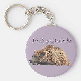 Knäppas Keychain med att sova grizzlyen Rund Nyckelring