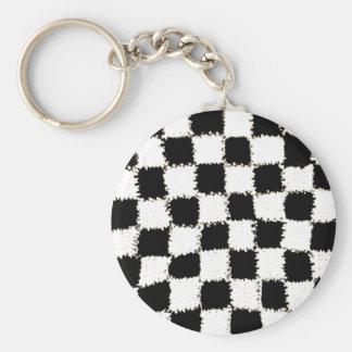 Knäppas Keychain med virkad rutig stil Rund Nyckelring
