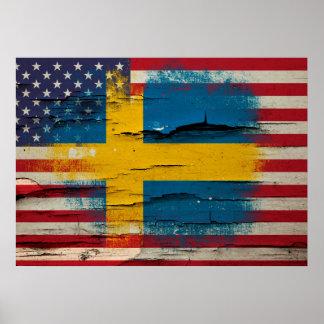 Knastra målar   den svenska amerikanska flaggan poster