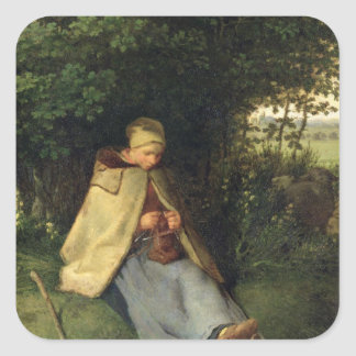 Knitteren eller, den placerade shepherdessen, fyrkantigt klistermärke