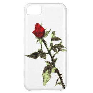 Knopp av den ritade röd ros iPhone 5C fodral