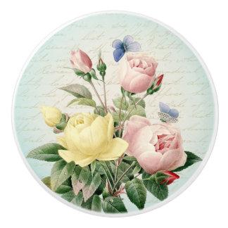 Knopp för blom- vintage för ro kvinnlig keramisk