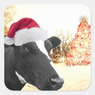 Ko för Mooey julvinter i den Santa hatten Fyrkantigt Klistermärke