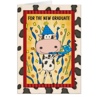 Ko för tecknad för studentengrattis doktorand- hälsningskort