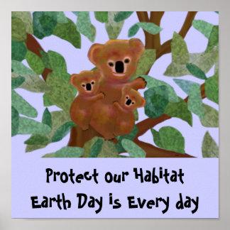 Koalaen skyddar vår livsmiljöaffisch poster