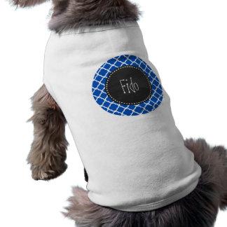 Koboltblått Quatrefoil; Retro svart tavla Tröja För Hundar