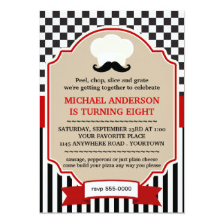 Kockhatt med inbjudan för MoustachePizzaparty