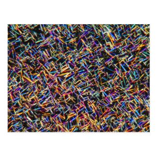 Koffeinkristaller under ett mikroskop vykort