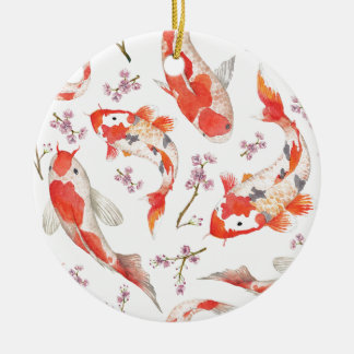 Koi körsbärsrött blommarmönster julgransprydnad keramik