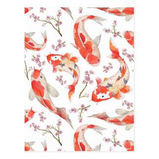 Koi körsbärsrött blommarmönster vykort