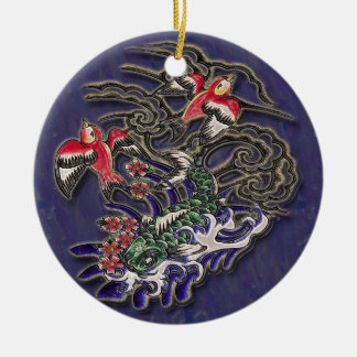 Koi med fåglar på blått julgransprydnad keramik