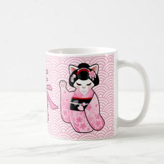 Kokeshi Maneki Neko japansk lycklig katt Maiko Kaffemugg