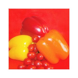 Kökkonstgult och röda peppar canvastryck