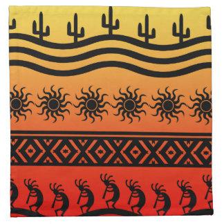 Kokopelli för Southwest för ökensolkaktus mönster Tygservett