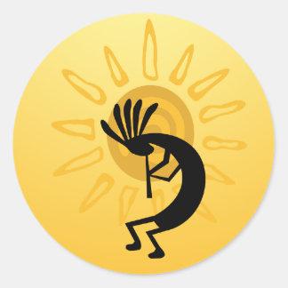 Kokopelli guld- solklistermärke runt klistermärke