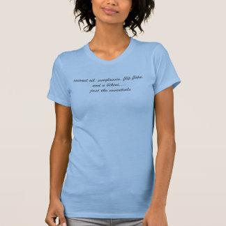 kokosnötolja, solglasögon, flinflip flops och en tee shirt