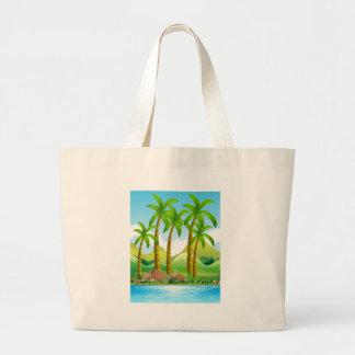 Kokosnötträd vid hav jumbo tygkasse