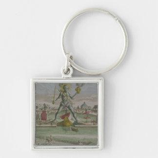 Kolossen av Rhodes, specificerar av statystraden Fyrkantig Silverfärgad Nyckelring