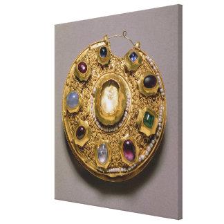 Kolt medaljong, guld- uppsättning med pärlor och canvastryck