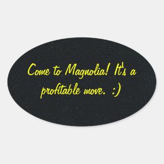 Kom till Magnoliaklistermärken Ovalt Klistermärke