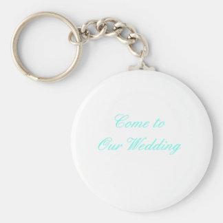 Kom till vårt Cyan bröllop de MUSEUMZazzle gåvorna Nyckel Ringar