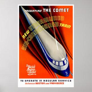 Komet - vintagetågaffisch poster