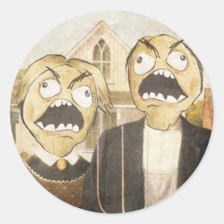 Komisk flott målning för ursinneansikteMeme Runt Klistermärke