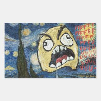 Komisk flott målning för ursinneansikteMeme Rektangulärt Klistermärke