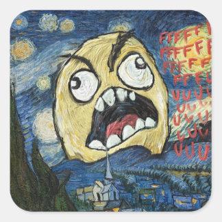 Komisk flott målning för ursinneansikteMeme Fyrkantigt Klistermärke