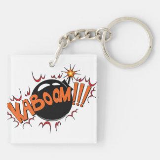 Komisk stil KaBoom för popkonst! Fyrkantigt Dubbelsidigt Nyckelring I Akryl