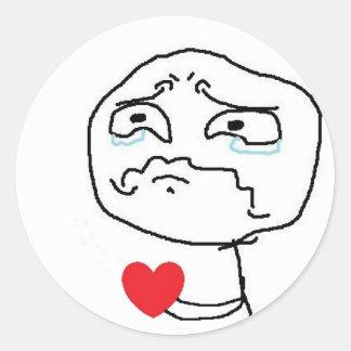 Komiskt ansikte för bruten hjärta runt klistermärke