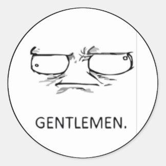 Komiskt ansikte för gentlemän runt klistermärke
