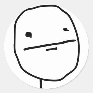Komiskt ansikte för pokeransikte rund klistermärke
