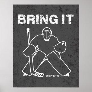 Komma med det hockeygoalien poster