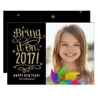 Komma med det på fotokort för nytt år 2017 12,7 x 17,8 cm inbjudningskort