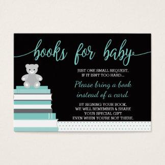 Komma med ett bokkort, nallen, bokar, baby shower visitkort
