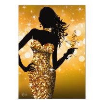 Komma med guldet för Bling gnistra   12,7 X 17,8 Cm Inbjudningskort